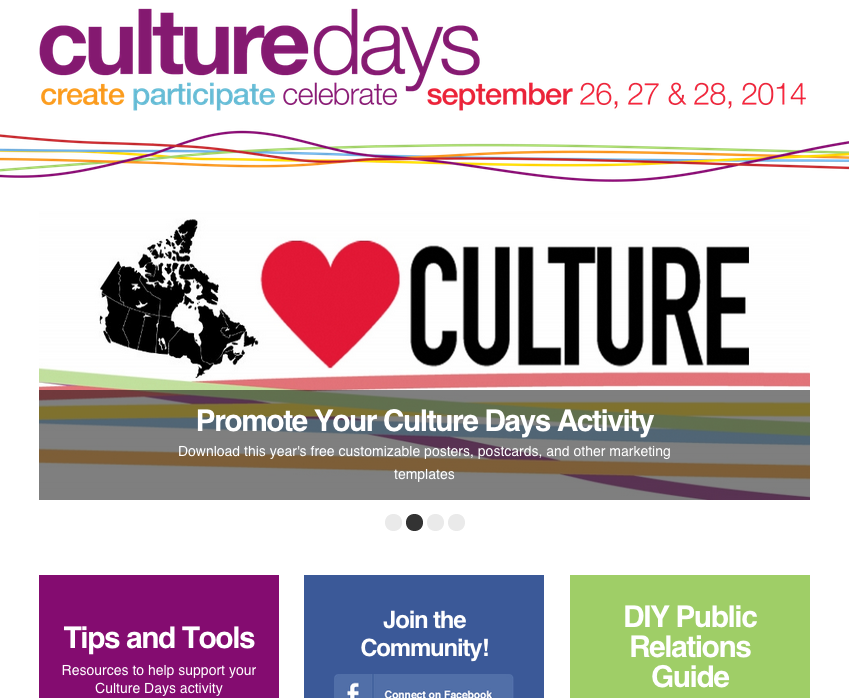 CultureDays.ca screen capture