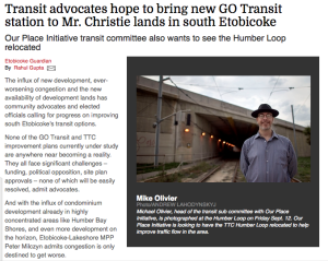 Etobicoke Guardian Article on Humber Bay Shores transit and transportation infrastructure development