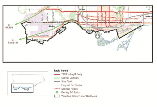 Waterfront Transit Reset Study Area: Western Segment