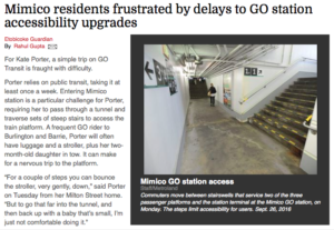 Mimico residents frustrated by delays to GO station accessibility upgrades